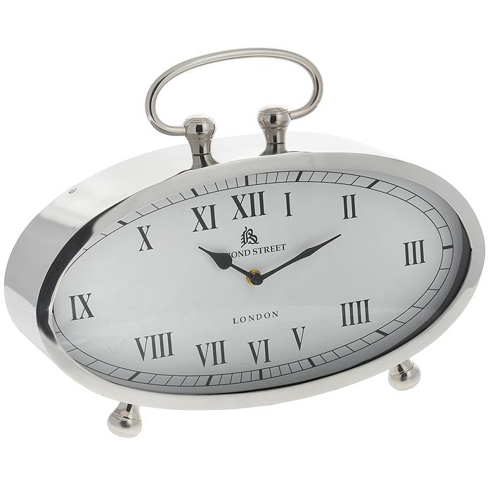 Часы настольные Win Max. 3581935819Оригинальные настольные часы Win Max оснащены кварцевым механизмом. Часы имеют овальный корпус, выполненный из металла серебристого цвета. Циферблат часов белого цвета оснащен двумя стрелками - часовой и минутной; имеет индикацию римскими цифрами. Часы снабжены ручкой и двумя ножками для большей устойчивости. Такие настольные часы станут оригинальным украшением дома или интерьера вашего кабинета. Характеристики: Материал: пластик, стекло, металл (железо). Размер корпуса (ДхШхВ): 40 см х 10 см х 21 см. Высота часов (с ручкой): 31 см. Размер циферблата: 37 см х 18 см.