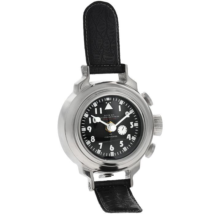 Часы настольные Win Max. 3582435824Оригинальные настольные часы Win Max имеют кварцевый механизм. Круглый корпус выполнен из металла серебристого цвета. Часы имеют форму наручных часов с ремешками из кожзама с тиснением. Циферблат часов черного цвета оснащен двумя белыми стрелками - часовой и минутной. Такие настольные часы станут оригинальным украшением рабочего стола или интерьера вашего кабинета.