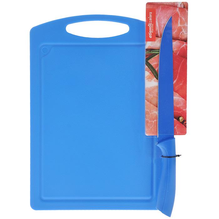 Доска разделочная Atlantis Microban, цвет: синий, 33 х 23 см + ПОДАРОК: Нож кухонный Atlantis, цвет: синий, длина лезвия 20 смBL-B-01Прямоугольная разделочная доска Atlantis Microban выполнена из синего пластика и обладает целым рядом преимуществ, а именно: - удобная ручка; - не скользит по поверхности стола; - можно использовать обе стороны доски; - непористая поверхность; - можно мыть в посудомоечной машине; - не впитывает запах продуктов; - ножи не затупляются при использовании. Доска обработана специальным покрытием Microban. Покрытие Microban - самое надежное в мире средство для защиты от бактерий, грибков, плесени и запахов. Действует постоянно, даже после мытья, обеспечивая большую защиту доски. Антибактериальная защита работает на протяжении всего срока службы разделочной доски. В подарок прилагается кухонных нож Atlantis, изготовлен из нержавеющей стали. Безопасное покрытие лезвия не дает пище прилипать к ножу. Эргономичная рукоятка изготовлена из пластика с антибактериальной защитой Microban, которая замедляет рост бактерий,...