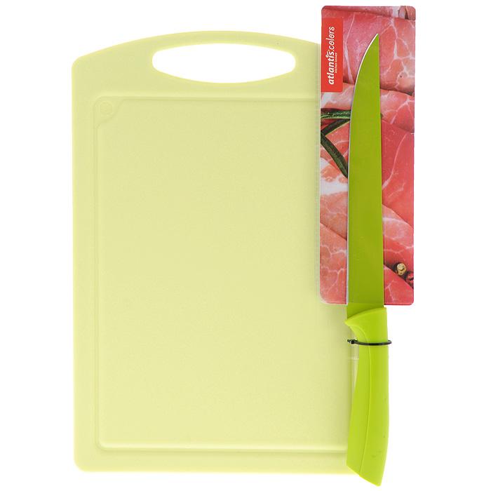 Доска разделочная Atlantis Microban, цвет: зеленый, 33 см х 23 см + ПОДАРОК: Нож кухонный Atlantis, цвет: зеленый, длина лезвия 20 смBL-G-01Прямоугольная разделочная доска Atlantis Microban выполнена из зеленого пластика и обладает целым рядом преимуществ, а именно: - удобная ручка; - не скользит по поверхности стола; - можно использовать обе стороны доски; - непористая поверхность; - можно мыть в посудомоечной машине; - не впитывает запах продуктов; - ножи не затупляются при использовании. Доска обработана специальным покрытием Microban. Покрытие Microban - самое надежное в мире средство для защиты от бактерий, грибков, плесени и запахов. Действует постоянно, даже после мытья, обеспечивая большую защиту доски. Антибактериальная защита работает на протяжении всего срока службы разделочной доски. В подарок прилагается кухонных нож Atlantis, изготовлен из нержавеющей стали. Безопасное покрытие лезвия не дает пище прилипать к ножу. Эргономичная рукоятка изготовлена из пластика с антибактериальной защитой Microban, которая замедляет рост бактерий, вызывающих пятна и...