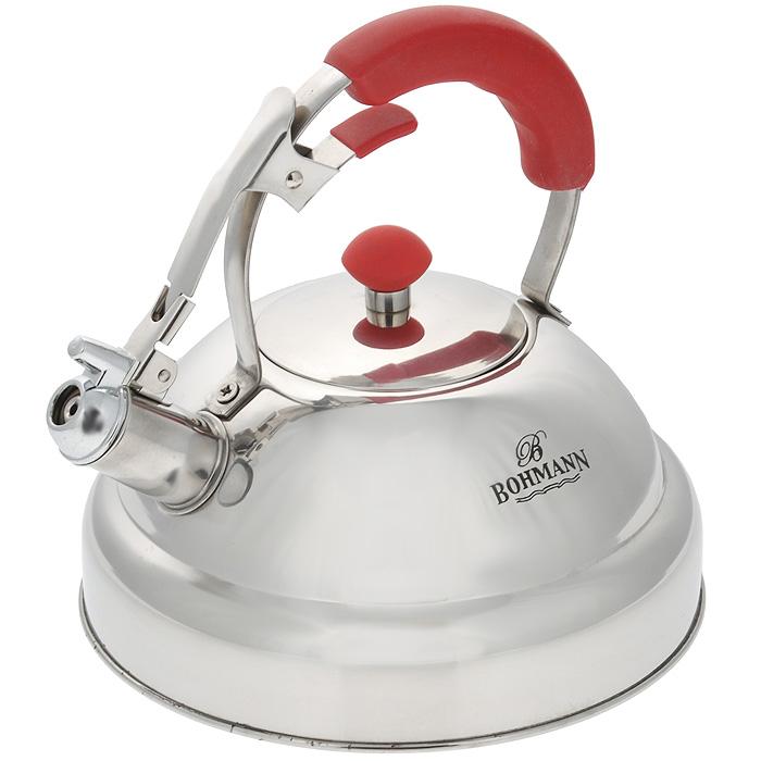 Чайник Bohmann, со свистком, 3,5 л. 9984BH9984BHЧайник Bohmann изготовлен из высококачественной нержавеющей стали, благодаря чему не подвержен коррозии, устойчив к органическим кислотам, долговечен и прост в уходе. Качественная зеркальная полировка придает чайнику привлекательный внешний вид. Алюминиевый нагревательный элемент, встроенный в дно чайника, способствует быстрому закипанию воды даже при небольшой мощности конфорок. Прочная стальная ручка с силиконовой вставкой делает использование чайника очень удобным и безопасным. Наличие свистка позволяет следить за кипением чайника. Клапан открывания свистка на внутренней стороне ручки позволяет наливать воду одной рукой. Чайник можно использовать на всех типах плит, включая индукционные. Можно мыть в посудомоечной машине.