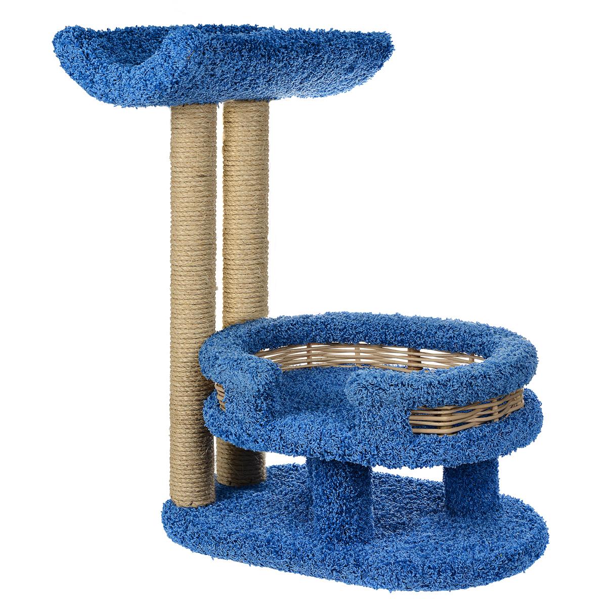 Когтеточка Лежанка с седлом, цвет: синий, 45 см х 60 см х 80 смП300447Когтеточка Лежанка с седлом отлично подойдет для котят и взрослых кошек средних размеров. Когтеточка станет не только идеальным местом для подвижных игр вашего любимца, но и местом для отдыха. Благодаря столбикам - когтеточкам, обернутым веревками из сизаля, ваша кошка удовлетворит природную потребность точить когти, что поможет сохранить вашу мебель и ковры. Для приучения любимца к когтеточке можно натереть ее сухой валерьянкой или кошачьей мятой. Оригинальный дизайн лежанки с плетеными бортиками позволит гармонично вписаться когтеточке в интерьер вашей квартиры.