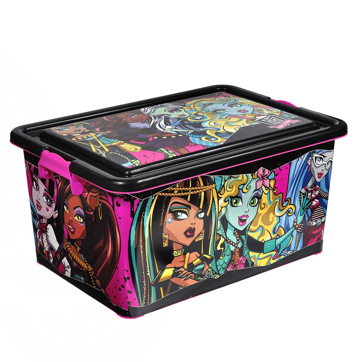Monster High Коробка для хранения 23 л4646Коробка для хранения Monster High выполнена из пластика, очень удобная и практичная вещь для любой детской комнаты. В нее поместятся многие игрушки вашего ребенка. С ее помощью можно легко научить ребенка наводить порядок самостоятельно. Яркая расцветка и веселый дизайн ящика станет замечательным украшением детской комнаты.