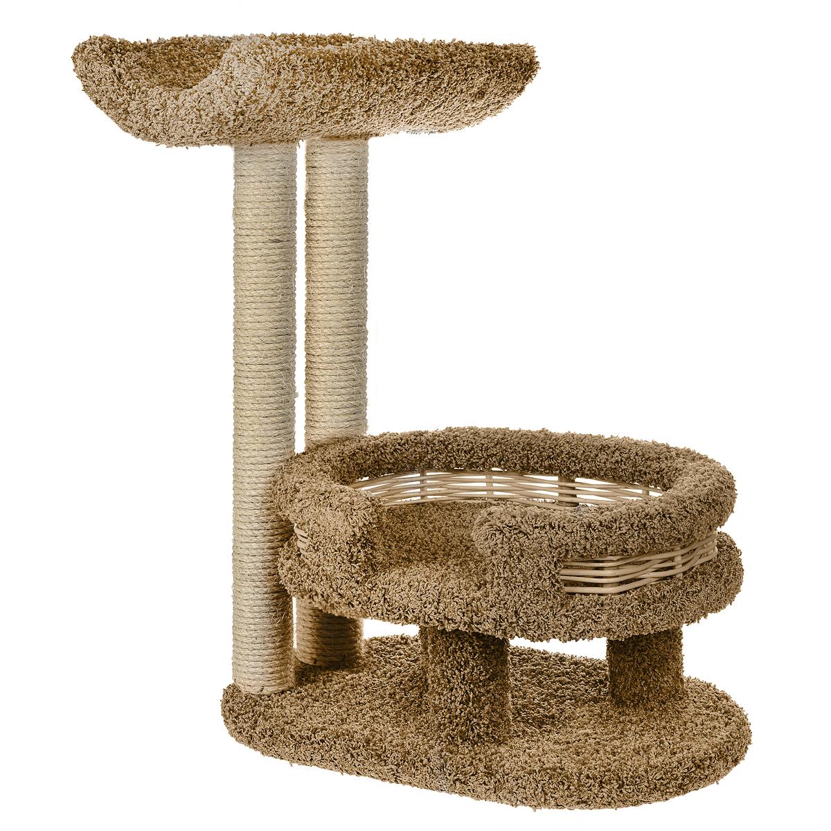 Когтеточка Лежанка с седлом, цвет: бежевый, 45 см х 60 см х 80 смП300446Когтеточка Лежанка с седлом отлично подойдет для котят и взрослых кошек средних размеров. Когтеточка станет не только идеальным местом для подвижных игр вашего любимца, но и местом для отдыха. Благодаря столбикам - когтеточкам, обернутым веревками из сизаля, ваша кошка удовлетворит природную потребность точить когти, что поможет сохранить вашу мебель и ковры. Для приучения любимца к когтеточке можно натереть ее сухой валерьянкой или кошачьей мятой. Оригинальный дизайн лежанки с плетеными бортиками позволит гармонично вписаться когтеточке в интерьер вашей квартиры.