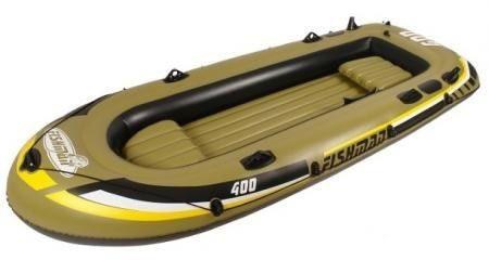 """Лодка надувная Jilong """"Fishman 400SET"""", с веслами и насосом, цвет: темно-зеленый, 340 х 142 х 48 см JL007210-1N"""