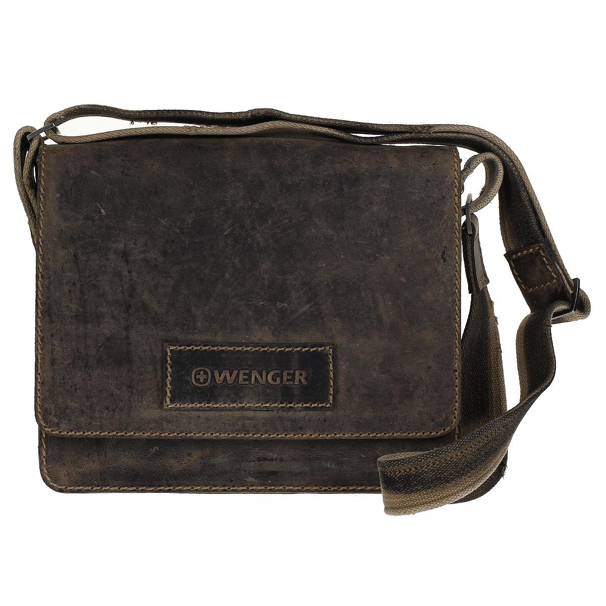 Сумка мужская Wenger Stonehide, цвет: светло-коричневый. W16-02W16-02Мужская сумка в стиле casual Wenger Stonehide изготовлена из высококачественной натуральной кожи светло-коричневого цвета. Кожа серии Stonehide - это крепкая, эластичная бычья кожа, обработанная по традиционной технологии - грубые швы, состаренные ремни. Потертый внешний вид делает изделие уникальным и создает специфический эффект старины. Сумка по всей поверхности оформлена стежками бежевого цвета. Сумка имеет одно основное отделение, которое закрывается клапаном на магнитную кнопку. Внутри содержится два отдела, разделенных средником на молнии, два накладных кармашка, два держателя для ручек, вшитый карман на молнии и 6 кармашков для пластиковых карт или визиток. Внутренняя поверхность отделана полиэстером коричневого цвета. Под клапаном содержится вшитый карман на молнии. С задней стороны сумки расположено дополнительное отделение на молнии. Изделие оснащено плечевым ремнем регулируемой длины из плотного полиэстера. Ремень снабжен вставкой для удобной переноски на...