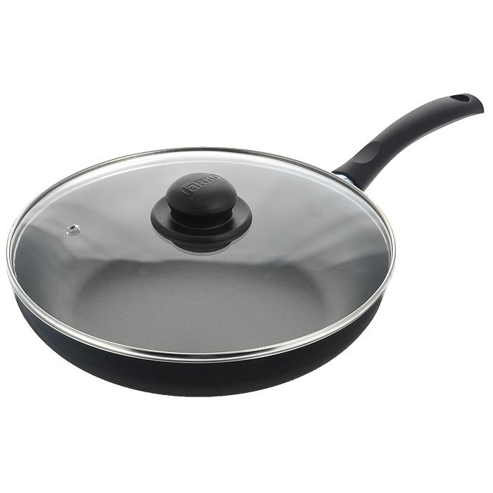 Сковорода Jarko Lite с крышкой, с антипригарным покрытием, цвет: черный. Диаметр 28 смJBIP-128-11Сковорода Jarko Lite изготовлена из высококачественного алюминия с внутренним пятислойным антипригарным покрытием Skandia S. Покрытие не оставляет послевкусия, делает возможным приготовление блюд без масла, сохраняет витамины и питательные вещества. Внешнее декоративное покрытие черного цвета выдерживает высокую температуру. Эргономичная бакелитовая ручка не нагревается в процессе приготовления пищи. Крышка из термостойкого стекла снабжена металлическим ободом, удобной бакелитовой ручкой и отверстием для выпуска пара. Такая крышка позволит следить за процессом приготовления пищи без потери тепла. Она плотно прилегает к краям сковороды, сохраняя аромат блюд. Сковорода пригодна для использования на всех типах плит, кроме индукционных. Подходит для чистки в посудомоечной машине. Характеристики: Материал: алюминий, бакелит, стекло, нержавеющая сталь. Цвет: черный. Внутренний диаметр сковороды: 28 см. Высота стенки сковороды: 5,5...