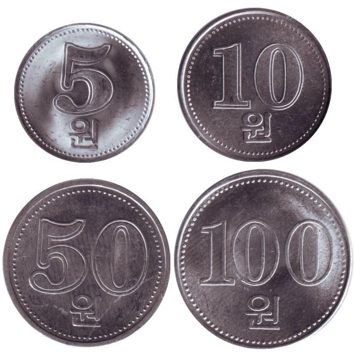 Набор из 4 монет. КНДР. 2005 год471305Набор из 4 монет. КНДР. 2005 год. Номиналы: 5, 10, 50, 100 вон. Состояние: UNC Материал: Алюминий