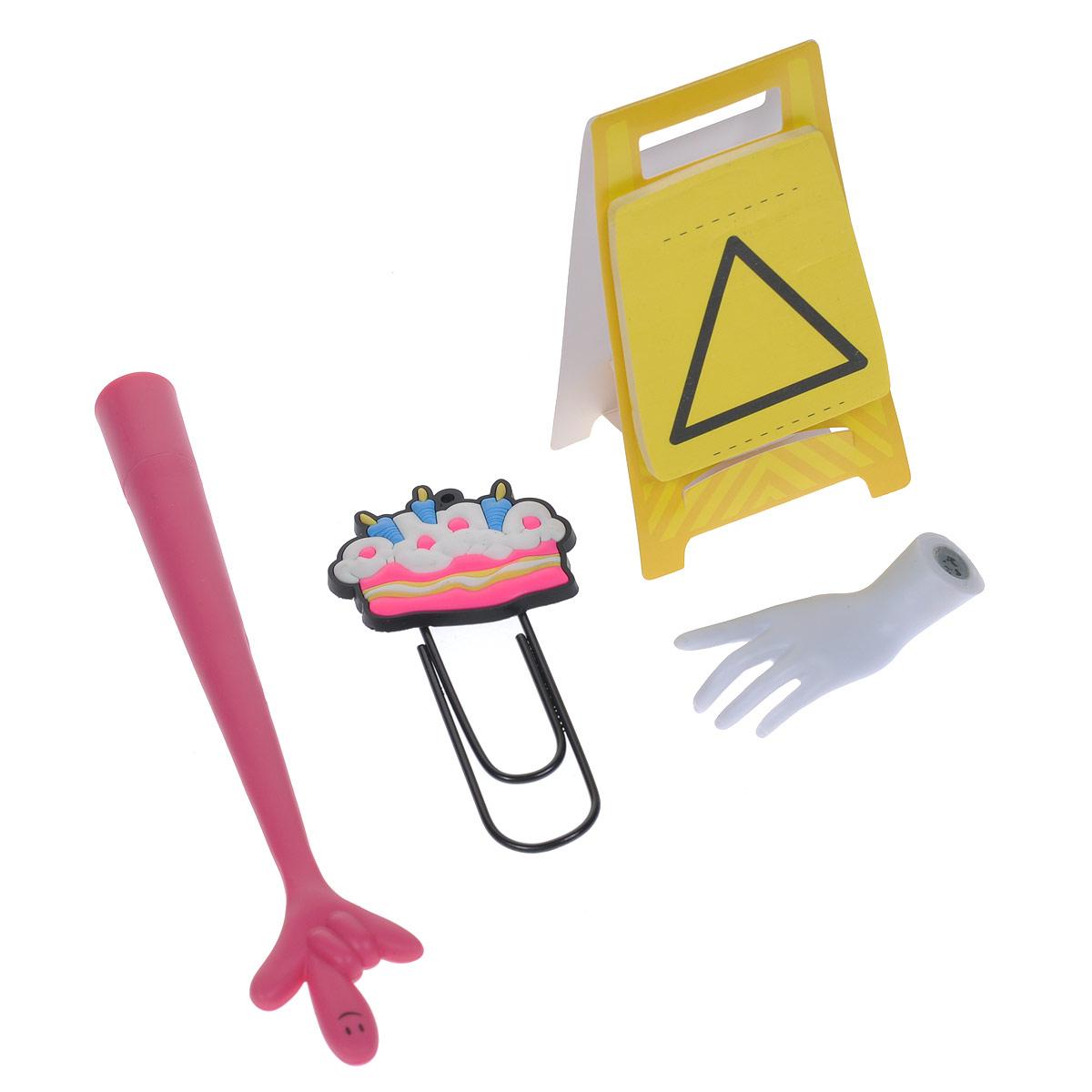 Набор канцелярский №30: ручка, скрепка, стикеры, магнит. 003713