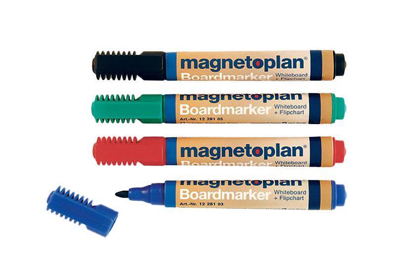 Набор маркеров Magnetoplan, 4 цвета. 1228112281Набор маркеров Magnetoplan станет вашим незаменимым помощником при проведении презентаций. Набор маркеров Magnetoplan предназначен для письма и рисования как на бумаге для флипчарта, так и на белой доске с лаковым покрытием в школе или офисе. Набор включает в себя четыре маркера зеленого, черного, красного и синего цветов. Корпус маркеров выполнен из пластика. Влагоустойчивые чернила на спиртовой основе быстро сохнут и не размазываются. Круглый наконечник дает аккуратную четкую линию. C набором маркеров Magnetoplan ваши презентации всегда будут безупречны.