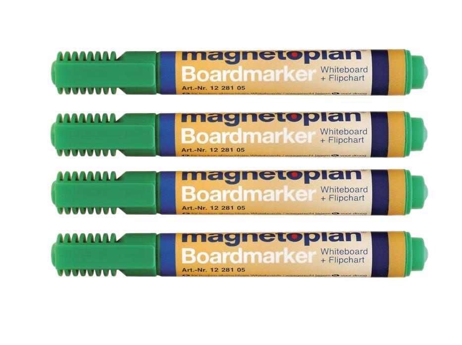Набор маркеров Magnetoplan, цвет: зеленый, 4 шт. 12281051228105Набор маркеров Magnetoplan станет вашим незаменимым помощником при проведении презентаций. Набор зеленых маркеров Magnetoplan предназначен для письма и рисования как на бумаге для флипчарта, так и на белой доске с лаковым покрытием в школе или офисе. Набор включает в себя четыре маркера зеленого цвета. Корпус маркеров выполнен из пластика. Влагоустойчивые чернила на спиртовой основе быстро сохнут и не размазываются. Круглый наконечник дает аккуратную четкую линию. C набором маркеров Magnetoplan ваши презентации всегда будут безупречны.
