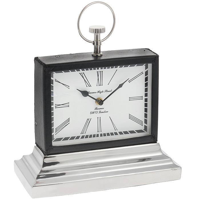 Часы настольные Win Max. 3581835818Оригинальные настольные часы Win Max оснащены кварцевым механизмом. Часы имеют прямоугольный корпус, обтянутый кожзамом черного цвета. Циферблат часов белого цвета оснащен двумя стрелками - часовой и минутной; имеет индикацию римскими цифрами. Основание часов изготовлено из пластика серебристого цвета. Такие настольные часы станут оригинальным украшением рабочего стола или интерьера вашего кабинета.