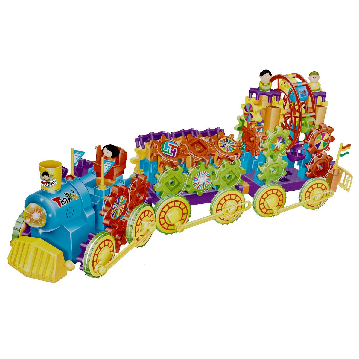 WSBD World Конструктор Музыкальный поезд из шестеренок9601Музыкальный поезд из шестеренок Kingdom Playright - отличный подарок ребенку. Кузов поезда и вагоны выполнены из конструктора в виде шестеренок, который позволит ребенку моделировать его по своему усмотрению и развивать творческие способности. Поезд при движении проигрывает музыку. В комплект входят поезд и инструкция с рисунками. Поезд работает от 3 батарей типа АА (не входят в комплект).