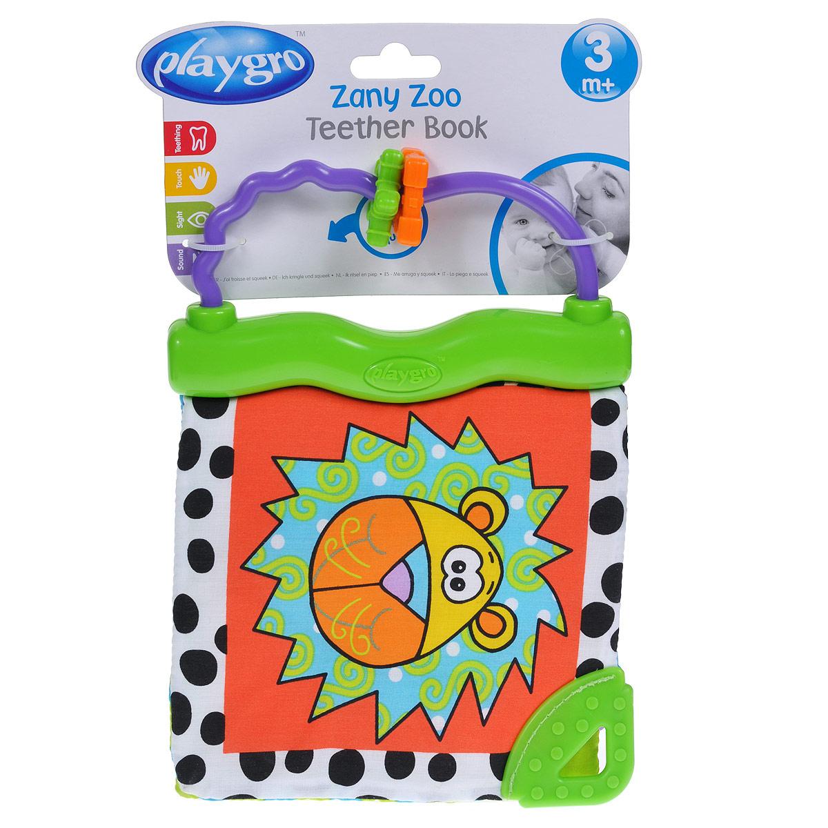 Книжка-прорезыватель Playgro Zany zoo0170173Мягкая книжка-прорезыватель Playgro Zany zoo привлечет внимание вашего малыша и не позволит ему скучать. Игрушка выполнена в виде книжки с тремя мягкими страницами, оформленными фактурными нашивками, шуршащим эффектом и забавным писком. Книжка крепится к пластиковому основанию. Это первая книжка малыша, с ее веселыми картинками он сможет играть часами. Специальные текстурные прорезыватели помогают успокоить воспаленные десны.