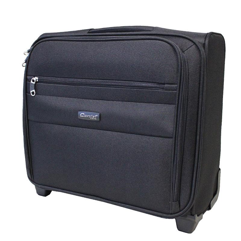 """Чемодан-тележка Cavalet, 45 л, 666-46, черный666-46 blаckКомпактный чемодан-тележка """"Cavalet"""" на двух колесах идеально подходит для поездок и путешествий. Корпус выполнен из плотного полиэстера с отделкой из пластика. Чемодан имеет одно вместительное отделение для хранения одежды и аксессуаров. Отделение закрывается на двойную застежку-молнию и имеет внутри отделения файлы-разделители для бумаг и документов, которые фиксируются хлястиком на липучку. Также в отделении предусмотрены багажные ремни для фиксации. С внешней стороны расположен накладной карман на молнии, содержащий внутри карман для мобильного телефона, три кармашка для карточек и два фиксатора для ручек. Дополнительно предусмотрен небольшой вшитый карман на молнии. Внутренняя поверхность изделия отделана полиэстером. В верхней части чемодана предусмотрена ручка для удобства переноски. На дне - две устойчивые ножки из пластика. Чемодан оснащен телескопической ручкой, которая выдвигается нажатием на кнопку. На тыльной стороне чемодана расположен вкладыш для багажной..."""