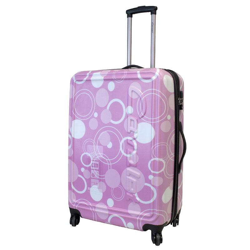 Чемодан-тележка Cavalet Malibu, 108 л, 868-70, розовый868-70 pinkСтильный чемодан-тележка Cavalet из коллекции Malibu на четырех колесах идеально подходит для поездок и путешествий. Корпус имеет жесткую конструкцию и выполнен из ударопрочного ABS-пластика с принтом в виде кругов. Чемодан имеет одно вместительное отделение для хранения одежды и аксессуаров, с возможностью увеличения объема. Отделение закрывается на двойную застежку-молнию и имеет встроенный кодовый замок с функцией TSA. Внутри - разделитель на молнии, сетчатый карман на молнии, кармашек для мелочей из прозрачного ПВХ и дополнительное большое отделение на застежке-молнии. Также в отделении предусмотрены багажные ремни для фиксации. Внутренняя поверхность изделия отделана полиэстером. В верхней части чемодана предусмотрена прорезиненная ручка для переноски. На одной из боковых сторон - пластиковые ножки, на другой - дополнительная ручка для переноски. Чемодан оснащен удобной телескопической ручкой, которая выдвигается нажатием на кнопку. Размер...