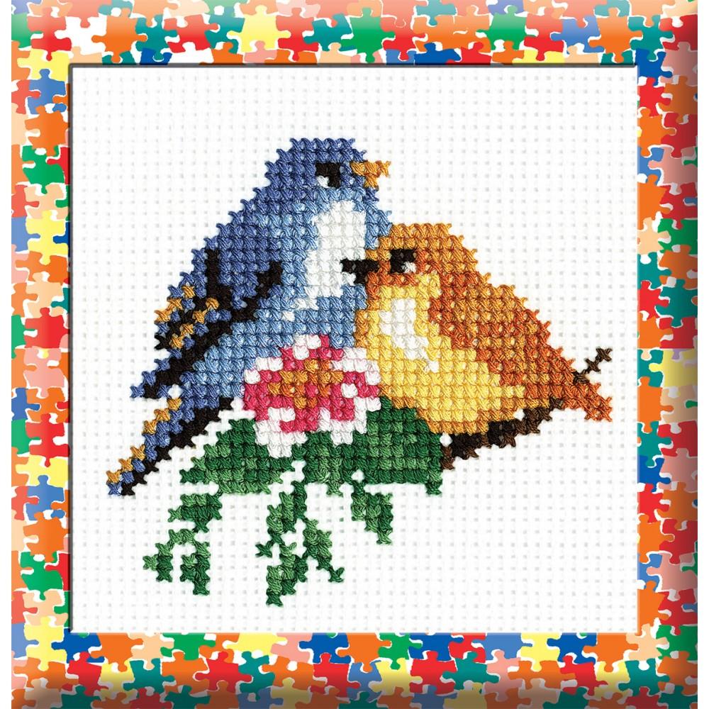 Набор для вышивания Птички, 10 х 10 см 729427064В состав набора входят: - канва белая (4 клетки/см) 100% хлопок; - мулине мерсеризованное 100% хлопок; - цветная схема.