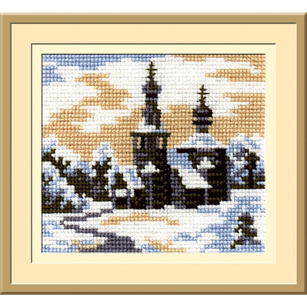 Набор для вышивания крестом Пейзаж в овале, 13 х 15 см С-091642078