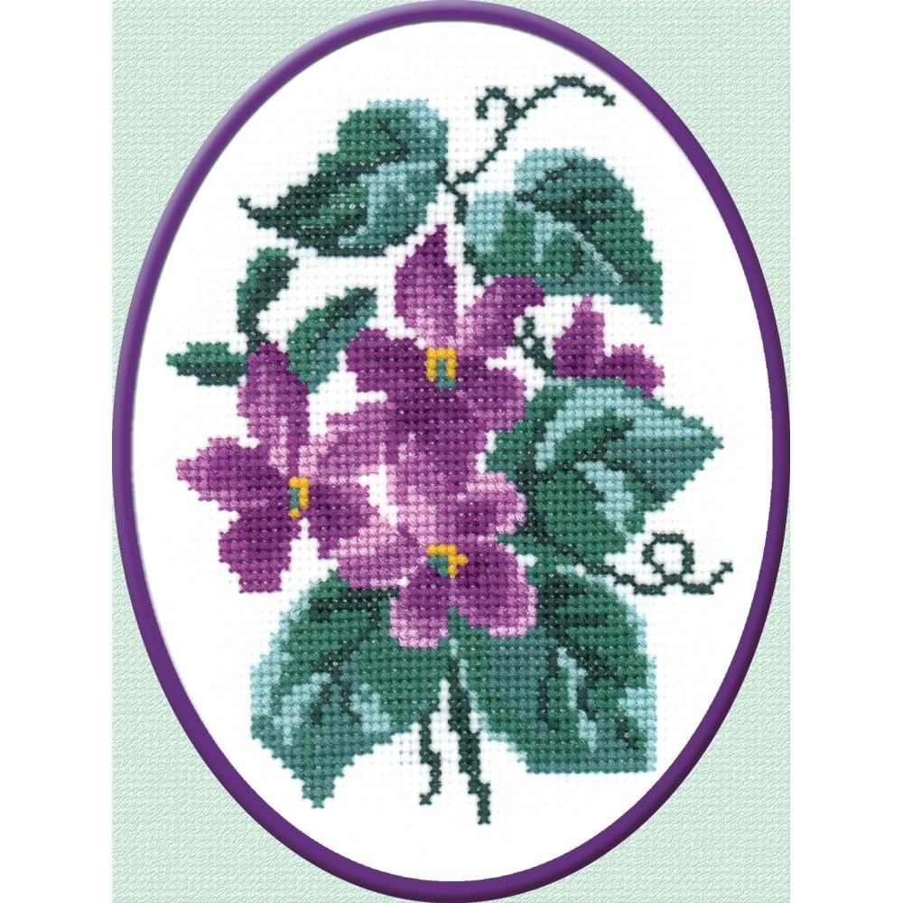 Набор для вышивания Фиалки, 16 см х 12 см642089