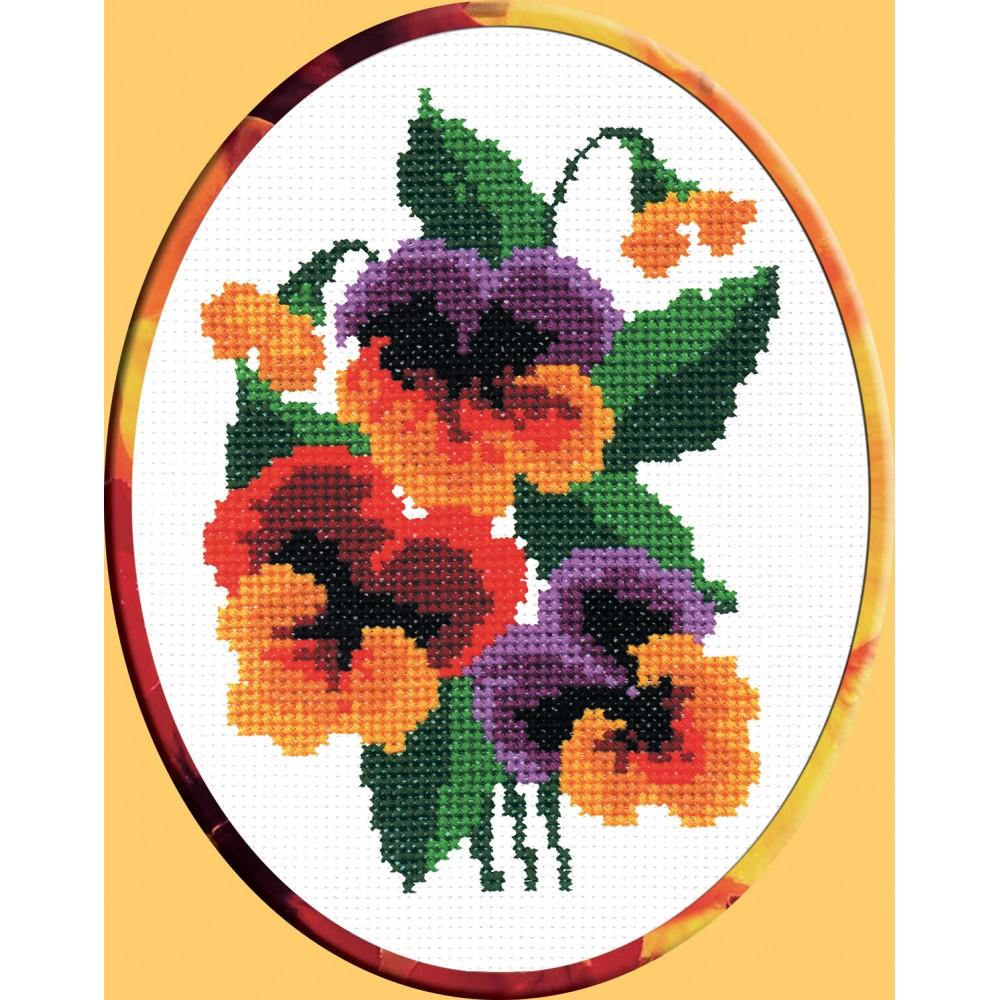 Набор для вышивания крестом Анютины глазки, 12 см х 17 см. 134642107Набор для вышивания крестом Анютины глазки поможет вам создать свой личный шедевр - красивую картину, вышитую нитками мулине. Работа, выполненная своими руками, станет отличным подарком для друзей и близких! Техника вышивания - шов крест в четыре нити. Набор содержит: - белая канва с нанесенным цветным водорастворимым рисунком Aida 11 (100% хлопок) 25 см х 30 см, - нитки мулине (9 цветов), - игла для вышивания, - цветная символьная схема A6, - инструкция на русском языке. Размер готовой работы: 12 см х 17 см.