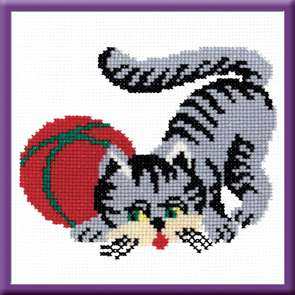 Набор для вышивания Серая кошка, 15 см х 18 см. 152642121
