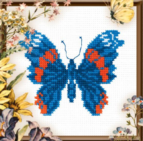 Набор для вышивания крестом Бабочка синяя, 11 х 13 см642261