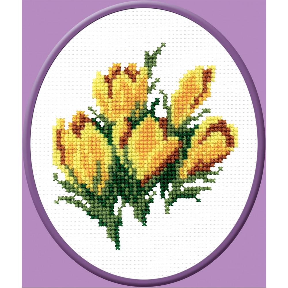 Набор для вышивания крестом Желтые цветочки, 12 х 13 см642282