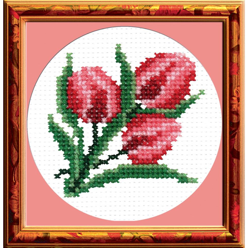 Набор для вышивания Тюльпаны, 8 х 8 см642295