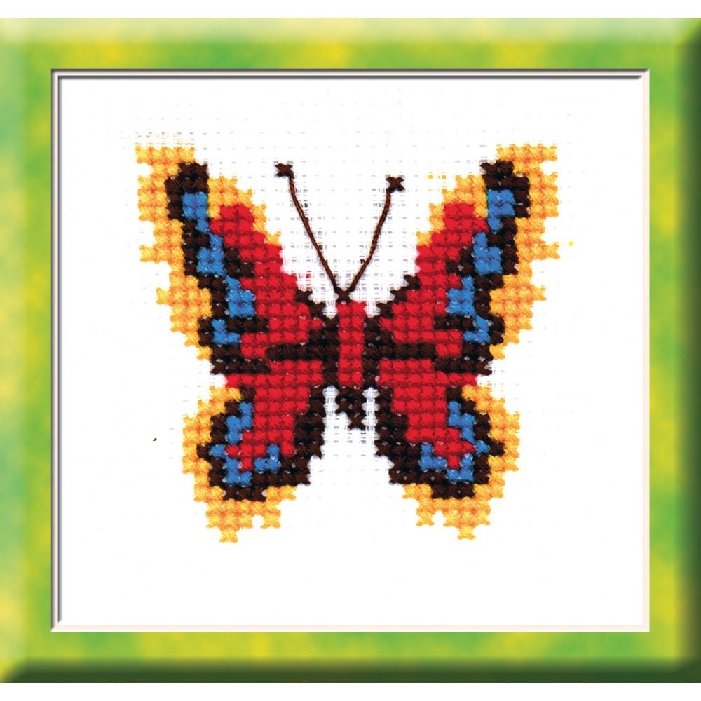 Набор для вышивания крестом Бабочка красно-желтая, 7 см х 7,5 см. 530642369