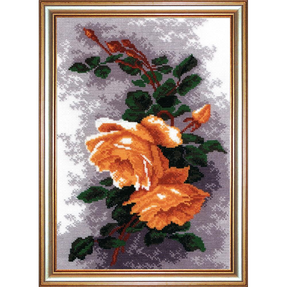 Набор для вышивания крестом Розы желтые, 27 х 19 см642459