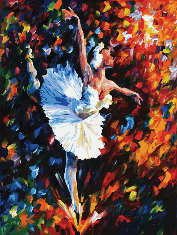 Живопись на холсте Танец души, 60 х 80 см2009-AM Танец душиЖивопись на холсте Танец души - это набор для раскрашивания по номерам акриловыми красками на холсте. В набор входят: - холст на подрамнике с нанесенным рисунком, - контрольный лист с нанесенным рисунком, - набор акриловых красок, - кисти, - крепление для готовой картины, - инструкция. Каждая краска имеет свой номер, соответствующий номеру на картинке. Нужно только аккуратно нанести необходимую краску на отмеченный для нее участок. Таким образом, шаг за шагом у вас получится великолепная картина. С помощью серии наборов Живопись на холсте вы можете стать настоящим художником и создателем прекрасных картин. Вы получите истинное удовольствие от погружения в процесс творчества и созданные своими руками картины украсят интерьер вашего дома или станут прекрасным подарком. Техника раскрашивания на холсте по номерам дает возможность легко рисовать даже сложные сюжеты. Прекрасно развивает художественный вкус, аккуратность и внимание....