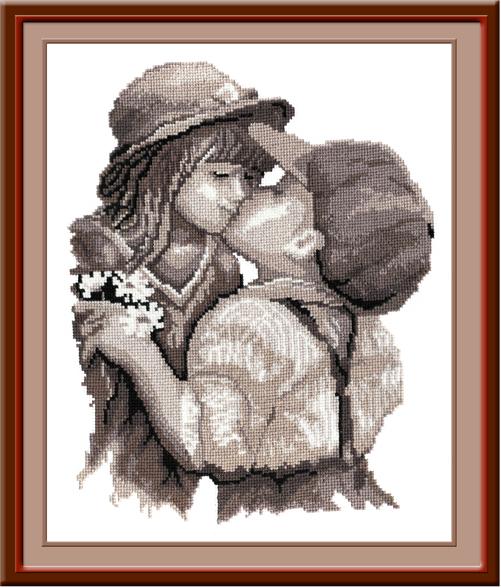 Набор для вышивания крестом Овен Поцелуй, 30 х 32 см562214