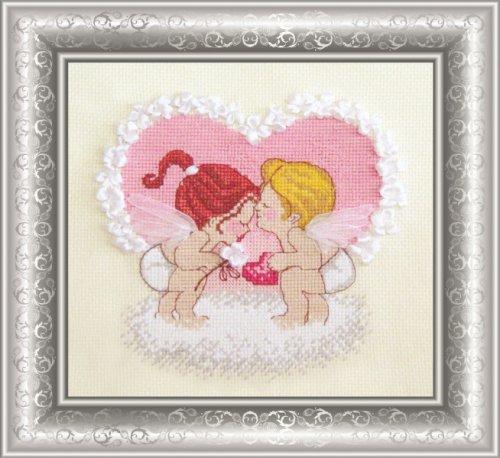 Набор для вышивания крестом Овен Ангелочки с сердцем, 16 см х 15 см562261