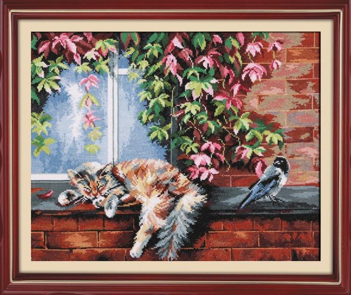 Набор для вышивания Кот и ворона, 35 х 27 см684325