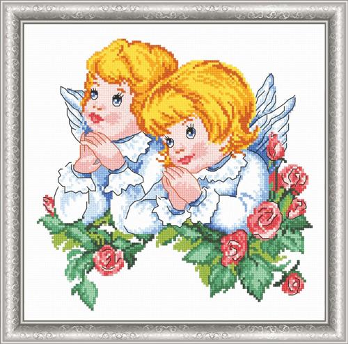 Набор для вышивания крестом Ангелочки, 23 х 23 см 697608 набор для вышивания крестом овен весна 21 х 23 см