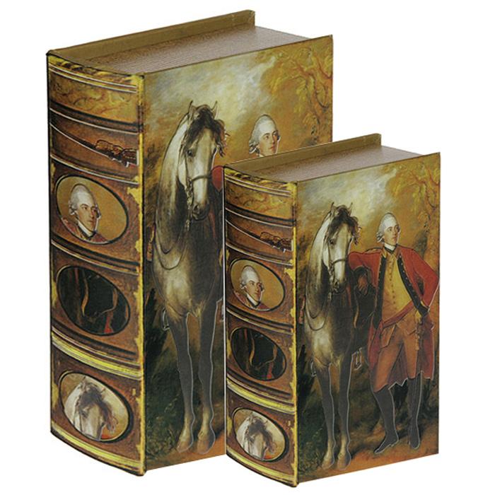 Набор шкатулок-фолиантов Томас Гейнсборо Портрет лорда Лигонье, 2 шт. 184153184153Набор Томас Гейнсборо Портрет лорда Лигонье включает в себя две шкатулки разных размеров, выполненные в виде старых книг-фолиантов. Обложки шкатулок выполнены из текстиля со вставками из кожзаменителя и оформлены фрагментом картины Портрет лорда Лигонье художника Томаса Гейнсборо. Такие шкатулки послужат оригинальным, а главное, практичным подарком, в котором замечательно сочетаются внешний вид и функциональность. Шкатулки, непременно, понравятся любителю изысканных вещей. В них можно хранить памятные вещи, документы или любые другие мелочи.
