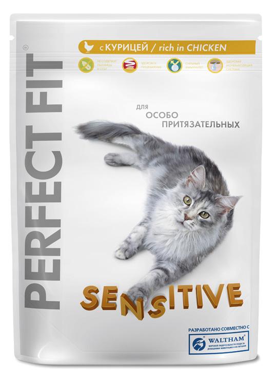 Корм сухой Perfect Fit Sensitive для кошек с чувствительным пищеварением, с курицей, 190 г10187Сухой корм Perfect Fit Sensitive - высококачественное сухое питание, специально приготовленное, чтобы поддержать здоровье привередливых кошек. Если кошка капризничает, отказывается от привычной еды, это может быть обусловлено тем, что она чувствительна к еде. Специально для особо притязательных разработан Perfect Fit с формулой Sensitive - полноценное сбалансированное питание без добавления сои и пшеницы, которое оптимально подойдет кошкам с чувствительным пищеварением. Рецептура содержит растительные экстракты для формирования здоровой микрофлоры кишечника, а комплекс антиоксидантов укрепляет иммунитет. Состав: высушенный белок птицы (включая 18% курицы), кукуруза, высушенный животный белок, животный жир, кукурузная мука, высушенный белок злаков, высушенная печень, мясокостная мука, сухая свекла, соль, экстракт цикория, хлорид калия, витамины и минеральные вещества. Пищевая ценность в 100 г: белки - 35 г, жиры - 16 г, зола - 7,3 г, влажность -...