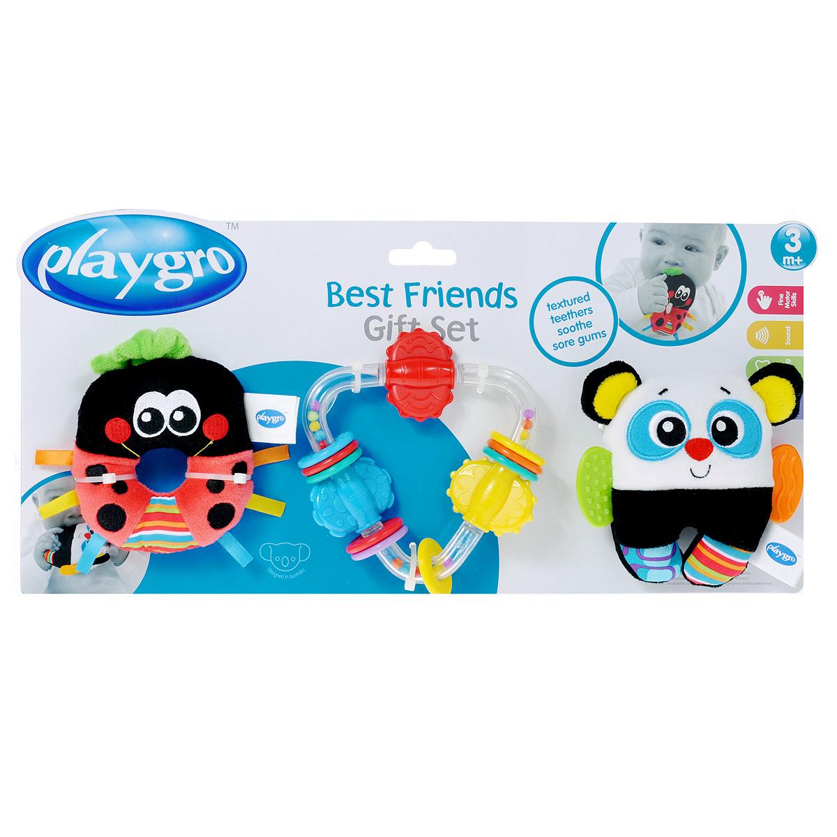Игровой набор Playgro Best Friends182431Игровой набор Playgro Best Friends не оставит вашего малыша равнодушным и не позволит ему скучать! Набор состоит из трех оригинальных игрушек-погремушек: мягкой божьей коровки, мягкой панды с прорезывателями для зубов и пластиковой игрушки треугольной формы. Божья коровка изготовлена из современных, легких материалов разных цветов и фактур. Внутри нее расположена сфера, гремящая при тряске. Панда также изготовлена из современных, легких материалов разных цветов и фактур. По бокам игрушка дополнена двумя небольшими прорезывателями, а внутри расположены шуршащие элементы и сфера, гремящая при тряске. Третья погремушка выполнена из безопасного пластика и представляет собой треугольник с закругленными углами. На каждой стороне треугольника расположен вращающийся элемент. Между элементами находятся по три цветных колечка, которые малыш сможет передвигать и вращать. Стенки треугольника прозрачные, внутри него находятся маленькие разноцветные шарики, которые перекатываются и гремят при...