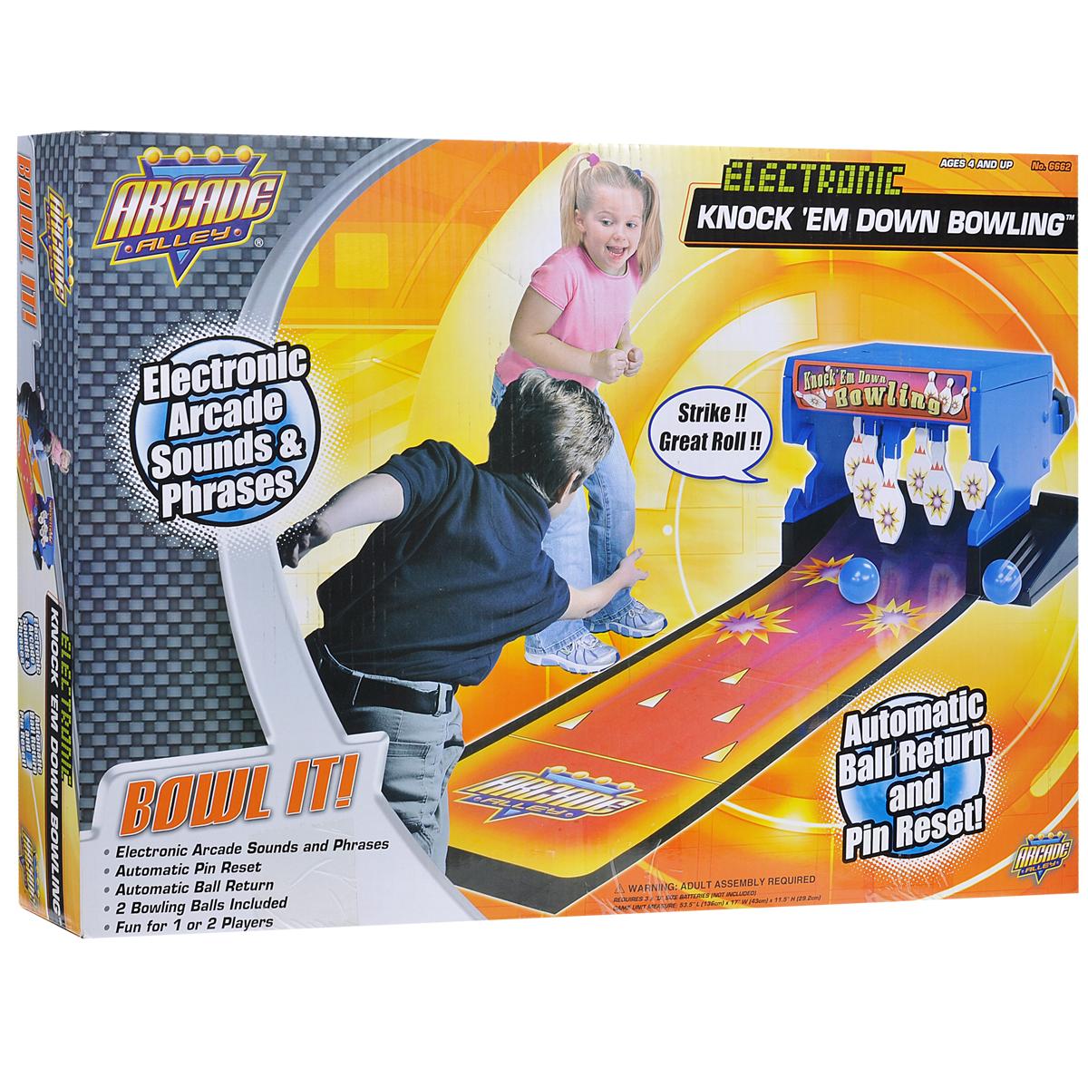 Боулинг Moose Mountain Arcade Alley, электронный6662Боулинг Moose Mountain Arcade Alley - это отличная веселая игра, развивающая ловкость, координацию и глазомер. Ваши дети проведут время в активном движении, играя в такую «взрослую» игру. Боулинг оснащен механизмом автоматического возврата шара. Кроме того, время от времени в процессе игры боулинг будет издавать реплики забавным голосом. Например, если вы собьете все кегли, боулинг скажет: «Страйк!». Окажетесь ли вы достаточно меткими, чтобы услышать это? В комплект входят основа для закрепления кеглей, шесть кеглей, пластиковая труба, две поддержки для сетки, основа для возврата мяча, две боковые панели, дорожка, два мяча, а также соединительные элементы и подробная инструкция на русском языке. Необходимо докупить 3 батареи типа D (не входят в комплект).