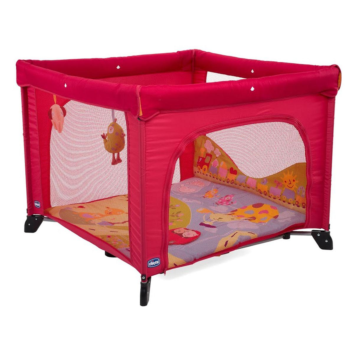 Chicco Кровать-манеж Open Baby World цвет красный07061689660000Удобная кровать- манеж Chicco (Чико) Open Baby World прослужит вашему ребенку с самых первых дней и до четырех лет. Он прекрасно подходит для использования во время путешествий, отдыха на даче и дома. Манеж выполнен из современных и легких материалов, он просторный, имеет квадратную форму и удобен в эксплуатации. Поставляется с мягким набивным матрасиком, который можно использовать вне манежа, когда малыш начнет свободно передвигаться по дому. Матрасик оформлен веселыми рисунками, материалы разных фактур и звуковые воздействия играют важную роль в развитии зрительных и осязательных навыков ребенка. Манеж дополнен мягкими, приятными на ощупь подвесными игрушками. Особенности манежа Chicco (Чико) Open Baby World: боковые стороны со вставками из мелкой сетки обеспечивают вентиляцию, прекрасное освещение и позволяют хорошо видеть малыша, когда он спит или играет, одна сторона - на застежке-молнии; поручни обтянуты мягкой тканью; твердое основание...