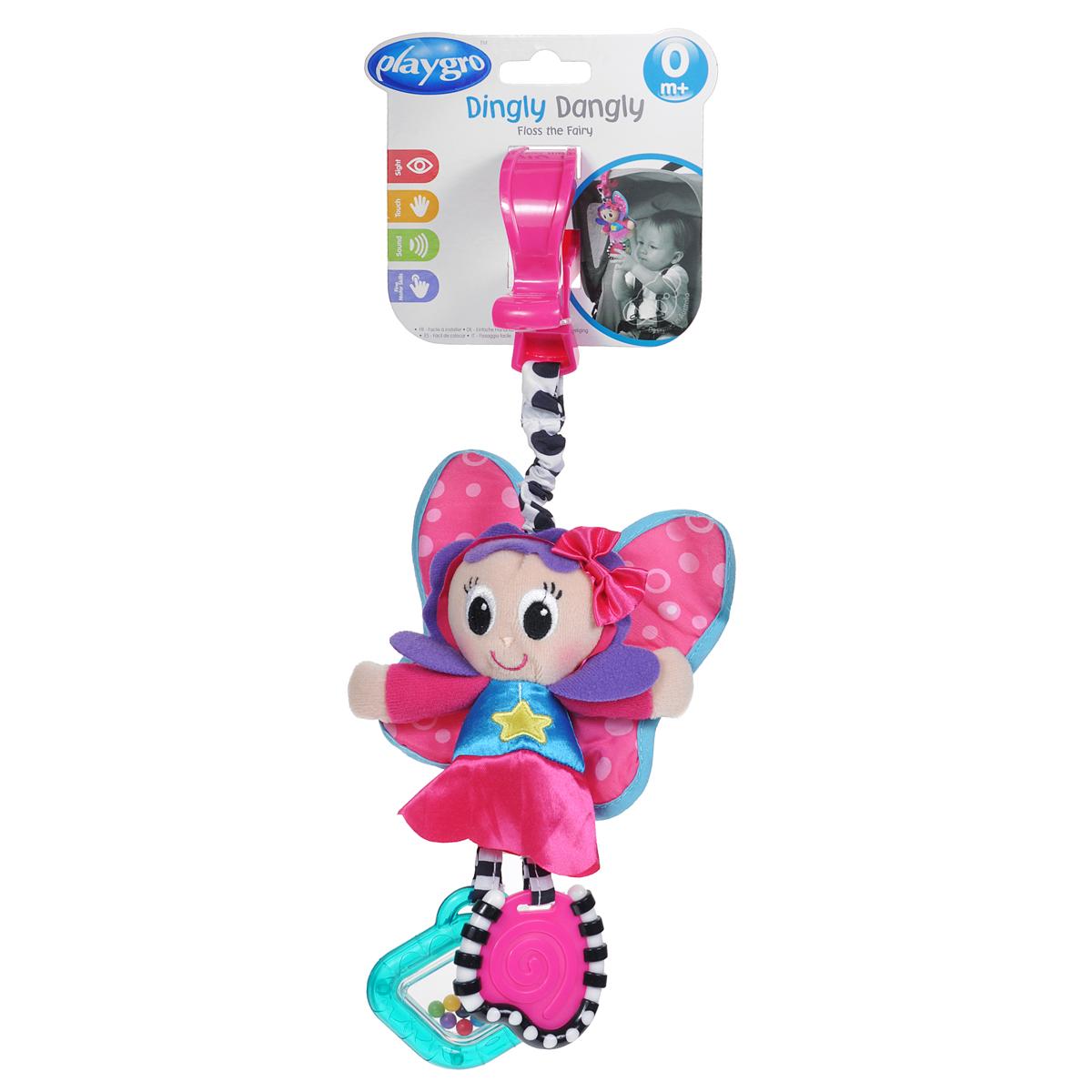 Игрушка-подвеска Playgro Бабочка0182850Мягкая игрушка-подвеска Playgro Бабочка привлечет внимание вашего малыша и не позволит ему скучать. Игрушка выполнена из мягкого текстильного материала разных цветов в виде симпатичной бабочки. С помощью пластикового зажима игрушку легко можно прикрепить к детской кроватке, коляске, автомобильному креслу или игровой дуге малыша. На одной ножке бабочки находится прорезыватель, а на другой ножке - прозрачная погремушка с разноцветными бусинками внутри. Мелкие, но яркие бусинки побуждают малыша фокусировать зрение на мелких объектах, а звук погремушки учит малыша находить объекты в пространстве.