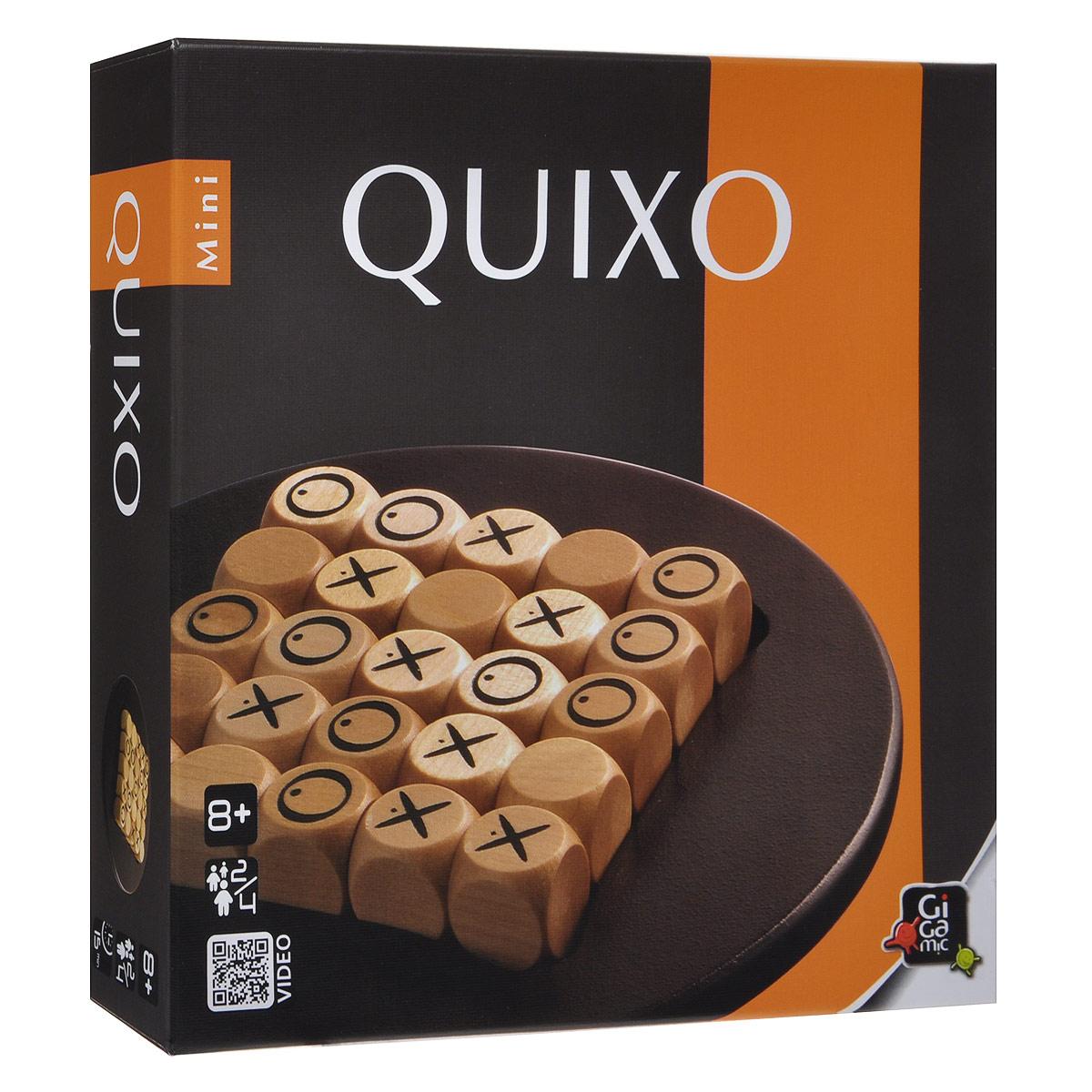 Настольная игра Квиксо, мини-версияР61783Настольная мини-игра Квиксо (Quixo Mini) - это прекрасный способ времяпрепровождения, такое развлечение придется по душе, как взрослым, так и детям. «Квиксо» обманчиво напоминает знакомые всем крестики-нолики, но на самом деле она гораздо интереснее. Цель игры - составить ряд из 5 своих символов. Все было бы просто, если бы кубики были неподвижны, но каждый ход игроки меняют расположение кубиков, сдвигая один из рядов. Так что, совершенно внезапно, вы можете оказаться на грани поражения! В комплект игры входят: игровое поле, 25 деревянных кубиков, мешочек для хранения и правила игры на русском языке. Количество: 2-4 игрока. Время игры: 15 минут.