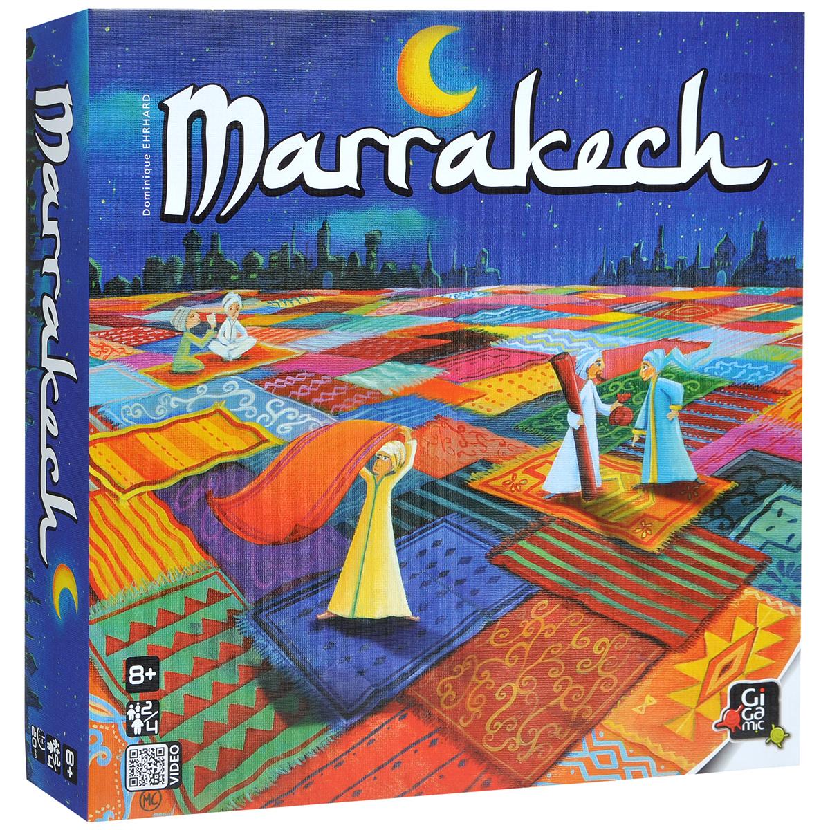 Настольная игра МарракешР61750Настольная игра Марракеш (Marrakech) - это прекрасный способ времяпрепровождения, такое развлечение придется по душе, как взрослым, так и детям. Ковровый рынок Марракеш бурлит: вот-вот будет объявлен лучший продавец! Каждый игрок хочет добиться, чтобы в конце игры было видно максимальное количество его ковров, и в то же самое время старается получить наибольшую прибыль. Это красивая и несложная игра, больше тактическая, чем стратегическая, которая отлично подойдет для семейной компании. Очень красивая, с симпатичными ткаными ковриками и активным взаимодействием между игроками - скучать вам точно не придется! В комплект игры входят: игровое поле, 57 ковров (15 - красных ковров, 15 - желтых, 15 - коричневых, 12 - синих), 40 монет, фигурка, игральный кубик, мешочек для хранения и правила игры на русском языке. Количество: 2-4 игрока. Время игры: 20 минут.