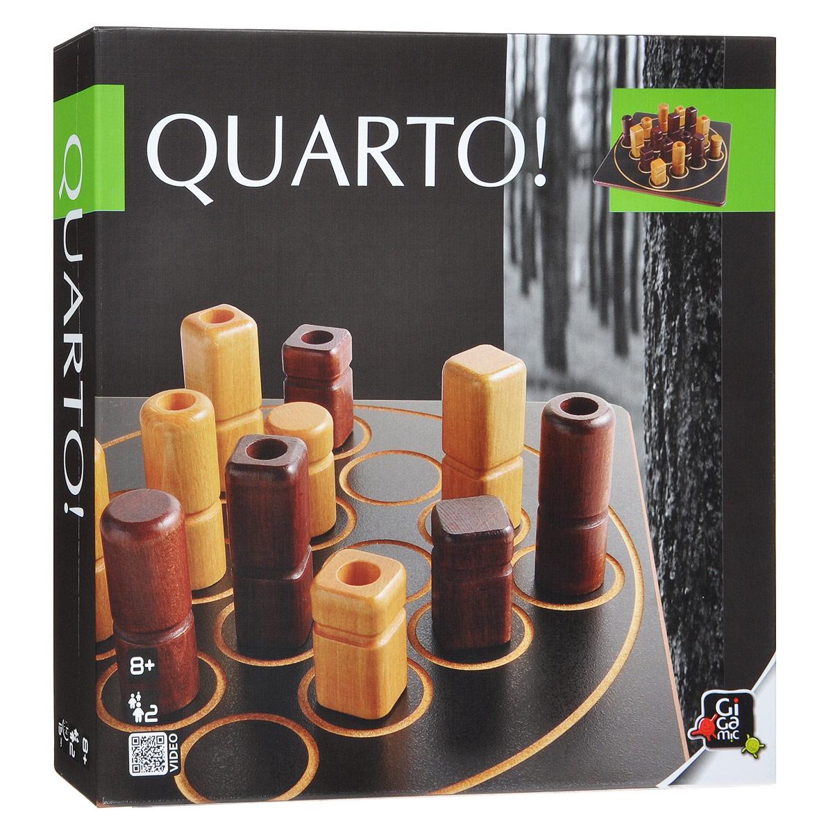 Настольная игра КвартоР61759Настольная игра Кварто (Quarto) - это прекрасный способ времяпрепровождения, такое развлечение придется по душе, как взрослым, так и детям. Суть игры заключается в следующем: в игре присутствует 16 фигур, отличающихся четырьмя признаками, ваша задача - собрать ряд из четырех фигур, хотя бы с одним общим признаком. Это может быть ряд из светлых фигур или из темных, из низких или высоких, из фигур с выемкой или фигур без нее, из круглых или квадратных. Казалось бы, все просто, но есть одна проблема - фигуру, которой вы будете делать ход, выбирает соперник. В комплект игры входят: игровое поле, 16 фигурок, мешочек для хранения и правила игры на русском языке. Количество: 2-4 игрока. Время игры: 15 минут.