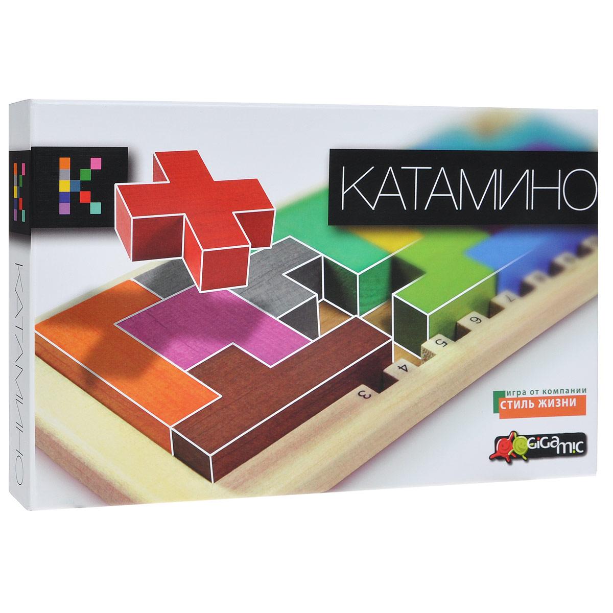 Настольная игра Gigamic КатаминоР61748Настольная игра Катамино (Katamino) - это прекрасный способ времяпрепровождения, такое развлечение придется по душе, как взрослым, так и детям. Под силу ли вам заполнить указанными в задании пентамино прямоугольное поле? С тремя элементами справится каждый, но над задачей из 8 элементов вам придется как следует подумать. Очень увлекательная игра, развивает пространственное мышление. В комплект игры входят: игровое поле, 12 пентамино, 5 красных кубиков, 3 коричневых кубика, барьер для ограничения выбранного игрового поля и буклет с правилами игры на русском языке и таблицами. Количество: 1-2 игрока.
