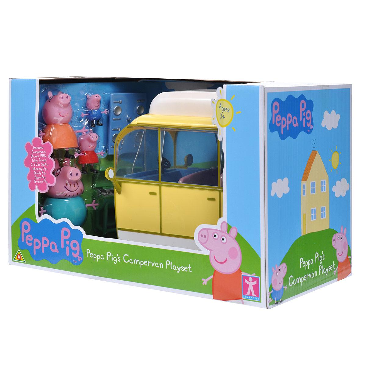 Игровой набор Peppa Pig Кемпинг Пеппы19070Мультфильм «Свинка Пеппа» настолько обожаем малышами, что они ждут каждую его серию с огромным нетерпением. А с игровым набором «Кемпинг Пеппы» они могут не только наблюдать за приключениями веселой свинки, но и участвовать в них! Счастливая семья приезжает за город на пикник, на крыше фургона выдвигает тент, чтобы защититься от палящих лучей солнца, вытаскивает сидения из машинки и уютно располагается на природе за столиком, пока папа Свин жарит шашлык на мангале. Набор содержит автомобиль-фургон с выдвижным тентом и съемными сидениями, мангал, столик для пикника, четыре фигурки (Пеппа, Джордж, мама, папа) и дополнительные аксессуары. Во время такой сюжетно-ролевой игры у ребенка отрабатываются навыки общения, вырабатываются семейные и общечеловеческие ценности, развиваются кругозор, словарный запас и воображение. И все это сопровождается бурным восторгом от увлекательной игры с любимыми персонажами, которые могут сидеть, стоять, двигать ручками и ножками! ...