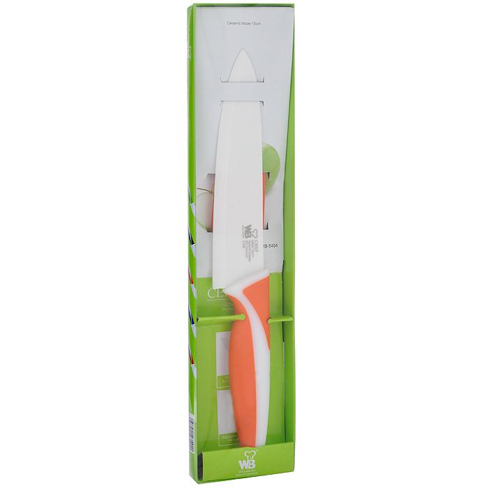 Нож поварской Wellberg, цвет: оранжевый, длина лезвия 15 см5404WB оранжевыйПоварской нож Wellberg выполнен из высококачественной керамики, что предотвращает прилипание продуктов. Очень удобная и эргономичная ручка выполнена из прорезиненного пластика. Нож обладает антибактериальным и антикоррозийным эффектом. Нож незаменим для измельчения продуктов и помогает поддерживать идеальную гигиену на кухне. Покрытие обеспечивает постоянную противомикробную защиту, позволяет сохранить нож в чистоте в течение длительного периода времени после мытья, подавляет бактерии, которые способствуют появлению загрязнения и неприятного запаха, гнили и плесени в течение всего времени использования изделия. Поварской нож Wellberg предоставит вам все необходимые возможности в успешном приготовлении пищи и порадует вас своими результатами. К ножу прилагаются пластиковые ножны.