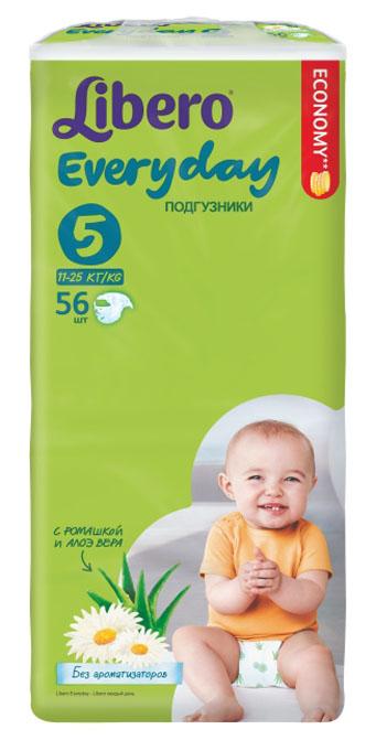 Libero Подгузники Everyday (11-25 кг) 56 шт5669Подгузники Libero Every Day (Либеро Эвридэй) позаботятся о сухости и комфорте вашего малыша. Они содержат натуральные ингредиенты ромашки и алоэ вера и не содержат ароматизаторов. Ромашка известна своим антисептическим и успокаивающим свойством. Алоэ обладает антибактериальным эффектом. Libero Everyday с экстрактом ромашки и алоэ вера - естественная забота для самой нежной кожи. Ультратонкие подгузники хорошо впитывают влагу и сидят на крохе, не стесняя его движений, дарят комфорт и радость. Они изготовлены из мягких материалов, приятных на ощупь и не вызывающих аллергии. Преимущества подгузников Libero Every Day: Мягкие и тонкие; Внутренний слой быстро впитывает и удерживает влагу внутри; Эластичный удобный поясок и тянущиеся боковинки; Мягкие барьерчики от протекания по бокам и резиночки вокруг ножек. Позволяют коже дышать.