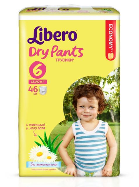 Libero Подгузники-трусики Dry Pants (13-20 кг) 46 шт5569Подгузники-трусики Libero Dry Pants правильно ухаживают за нежной кожей малышей, которые носят трусики 24 часа в сутки 7 дней в неделю. Преимущества подгузников-трусиков Libero Dry Pants: трусики комфортны, как белье; позволяют коже дышать, при этом надежно впитывают как днем, так и ночью; эластичный удобный поясок не сдавливает животик; легко и быстро надеваются и снимаются при разрывании боковых швов; высокие барьеры вокруг ножек помогают предотвратить протекание; пропитаны экстрактом ромашки, который обладает успокаивающим и смягчающим кожу эффектом; не содержат ароматизаторов. Весовая категория: 13-20 кг. Количество: 46 шт. Размер: 6.