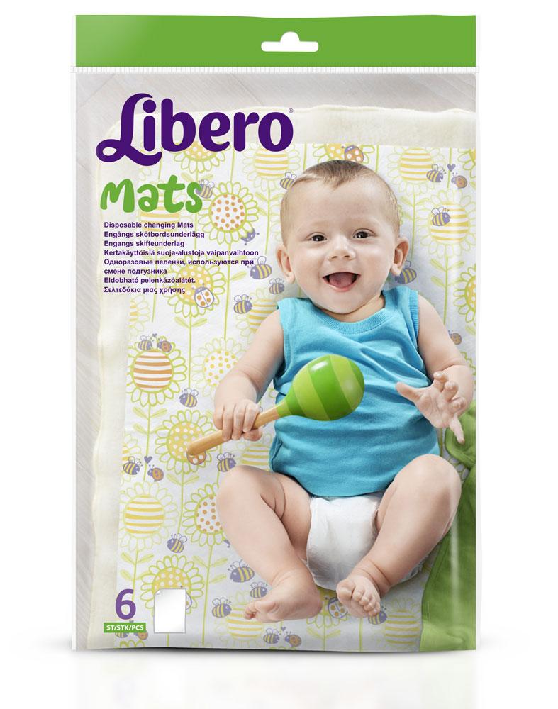 Libero Пеленка 6 шт2210Одноразовые пеленки Libero предназначены для ухода за маленькими детьми при смене подгузника, на прогулке, в коляске, при пеленании, в кроватке, на массаже, при визитах к врачу, во время принятия воздушных ванн и других случаях. Пеленки двухслойные. Поверхность одноразовых пеленок изготовлена из мягкого нетканого материала, позволяющего сохранить кожу сухой и чистой, а также избежать возникновения раздражения. Нижний слой предотвращает протекание наружу. Одноразовые пеленки Libero превратят любую горизонтальную поверхность в чистый пеленальный столик. В комплект входят 6 одноразовых пеленок.